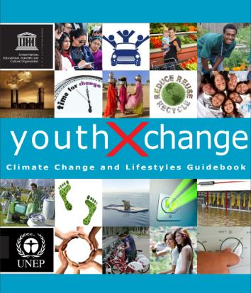 """UNESCOおよびUNEP """"Youth × Change guidebook series: climate change and lifestyles"""" 2011年発行"""